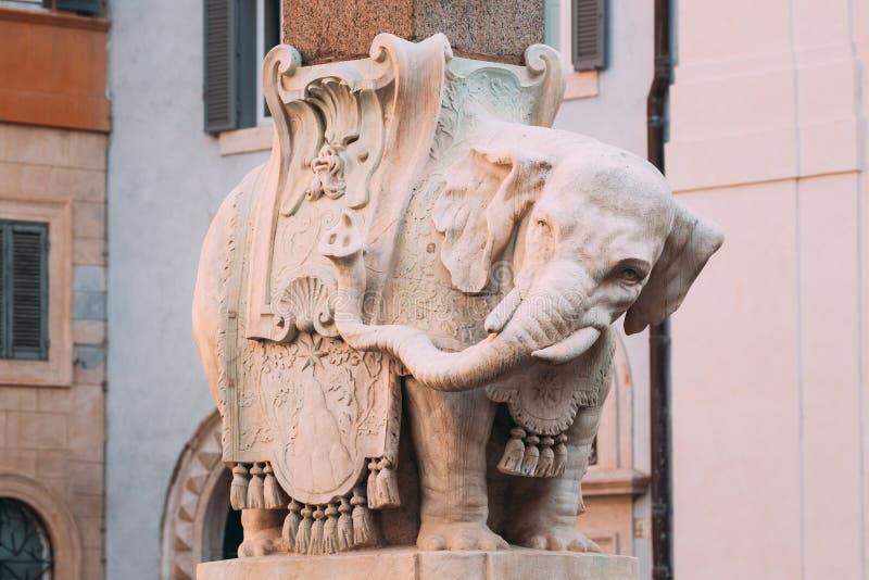 意大利罗马 大象和方尖碑在弥涅耳瓦广场 免版税库存图片