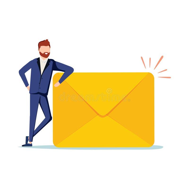 愉快的人收到了一封重要信件 英俊的商人或经理站立附近的邮箱并且拿着信封 向量例证