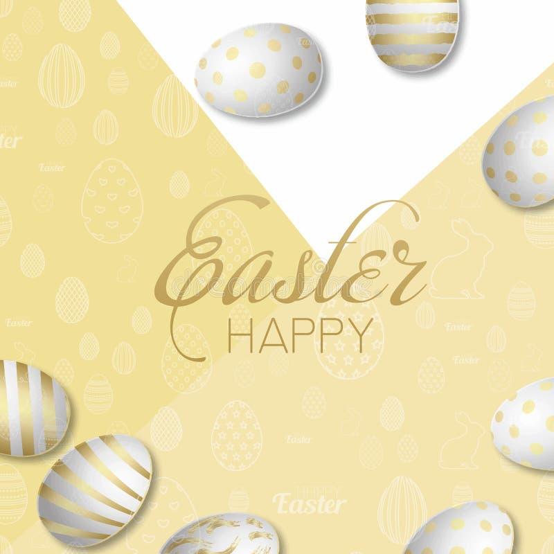 愉快的复活节卡片用金黄鸡蛋 向量 库存例证