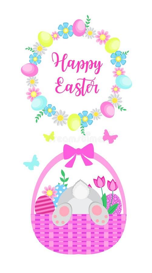 愉快的复活节春天贺卡用被绘的鸡蛋、逗人喜爱的兔子、花和蝴蝶 也corel凹道例证向量 库存例证