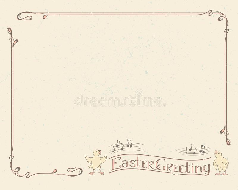 愉快的复活节招呼的印刷术,葡萄酒框架 库存例证
