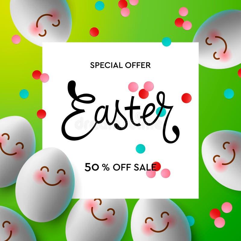 愉快的复活节背景模板用与逗人喜爱的微笑的emoji面孔的五颜六色的复活节彩蛋 愉快的复活节大狩猎或销售 向量例证