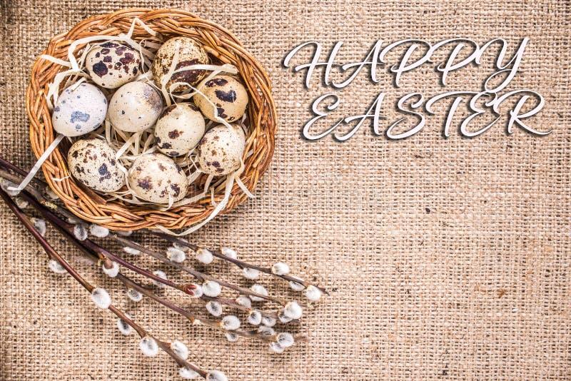 愉快的复活节背景用在篮子和猫杨柳的鸡蛋 免版税库存照片