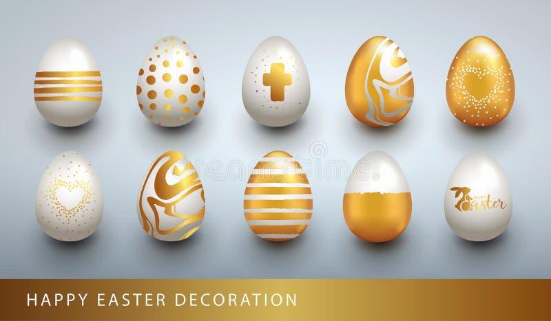 愉快的复活节集合用现实金黄亮光鸡蛋 向量例证