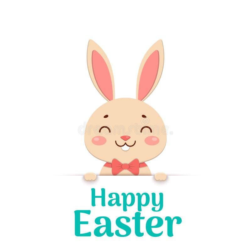 愉快的复活节 在一个红色蝶形领结的复活节动画片微笑的兔宝宝看在孔外面并且拿着文本地方 皇族释放例证
