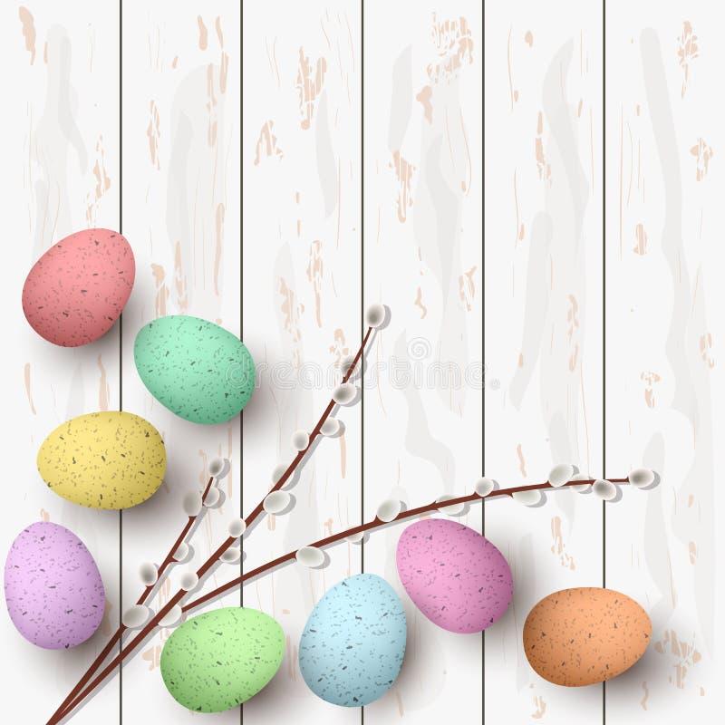 愉快的复活节 杨柳分支祝贺的复活节白色木背景和花束  皇族释放例证