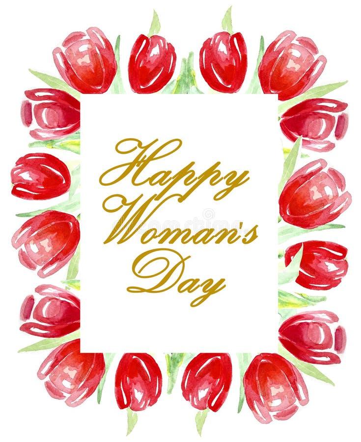 愉快的妇女` s天 明亮的红色郁金香框架  水彩 向量例证