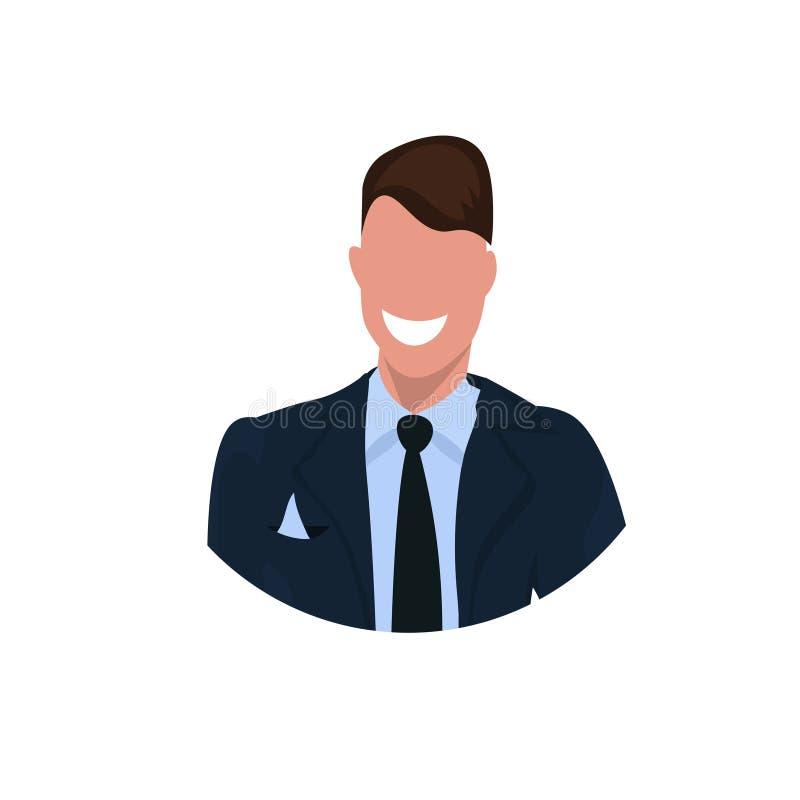 愉快的商人面孔具体化商人办公室工作者男性卡通人物画象平的白色背景 向量例证