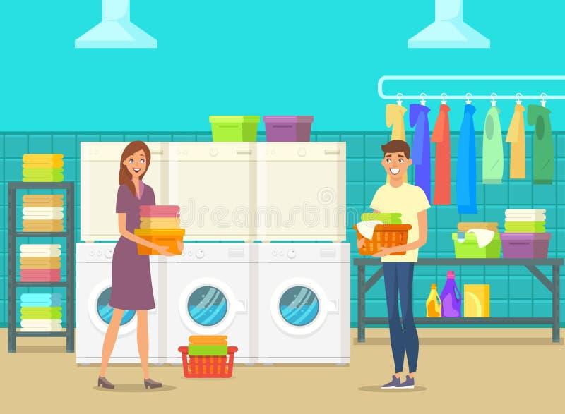 愉快的男人和妇女在洗衣房里面 库存例证