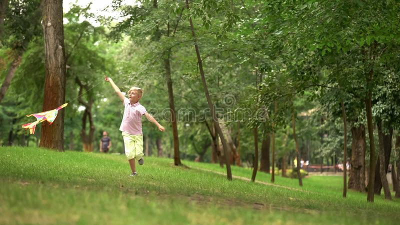 愉快的男孩发射的风筝在公园,娱乐活动户外,无忧无虑的童年 免版税库存图片