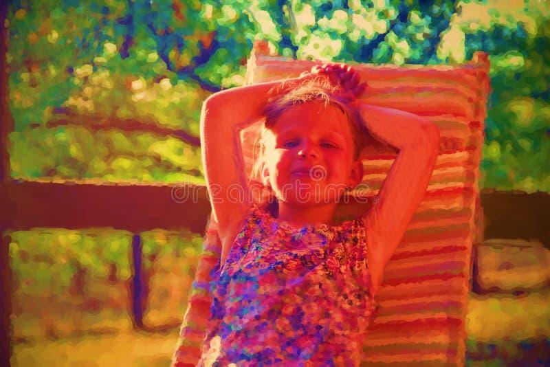 数字逗人喜爱的女孩水彩绘画  女孩坐游廊的庭院休息室 图库摄影