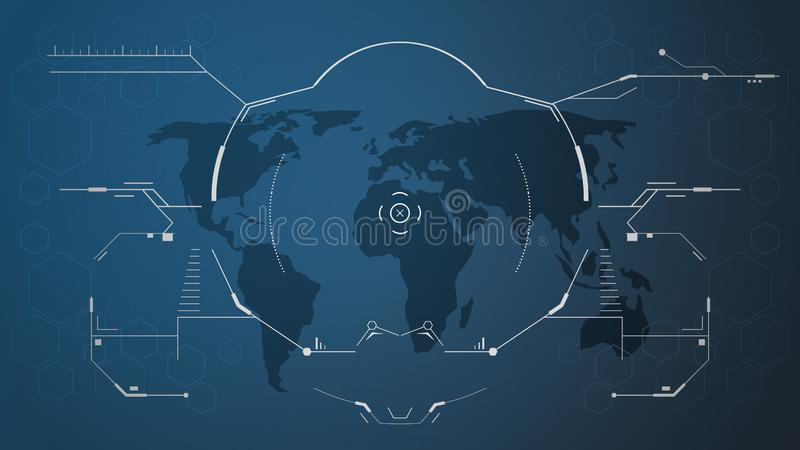 数字hud接口和世界地图 向量例证