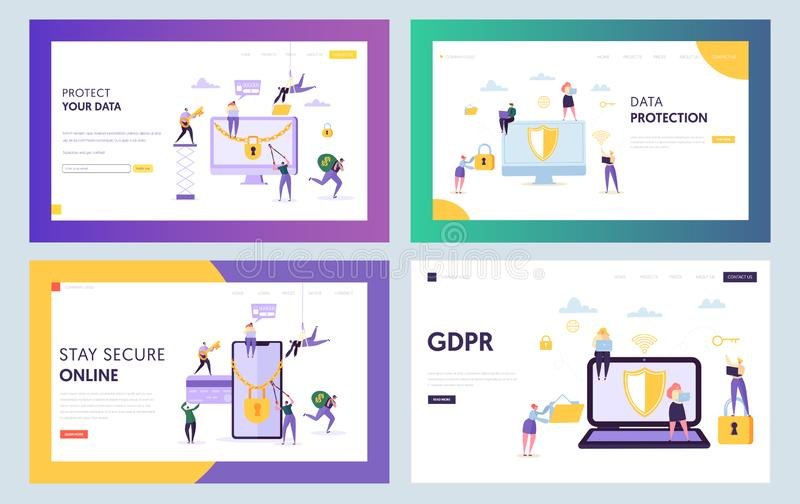 数据中心安全概念着陆页 与笔记本智能手机集合的商人字符 网上互联网保护 皇族释放例证