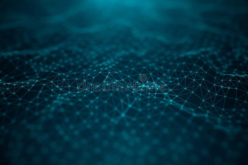 数据技术,抽象全球网络 全球性连接,网络连接小点和线在蓝色背景 向量例证