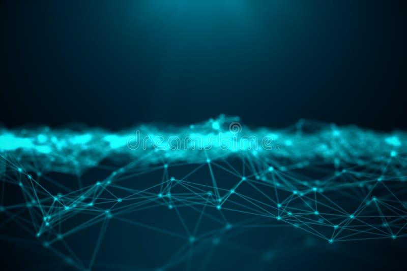 数据技术,抽象全球网络 全球性连接,网络连接小点和线在蓝色背景 皇族释放例证