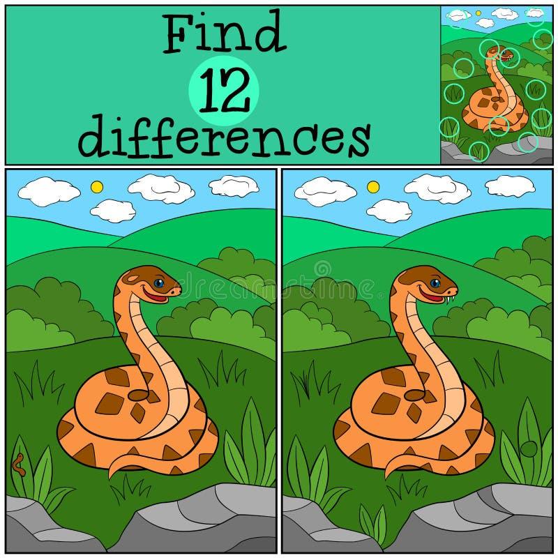 教育比赛:发现区别 逗人喜爱的蛇蝎微笑 皇族释放例证