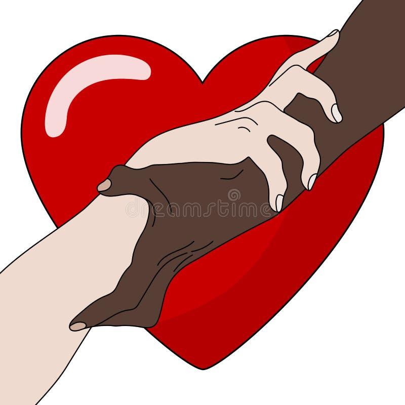 慈善概念 产生爱 握显示团结的手 多民族平等 队,伙伴,联盟概念 向量 向量例证