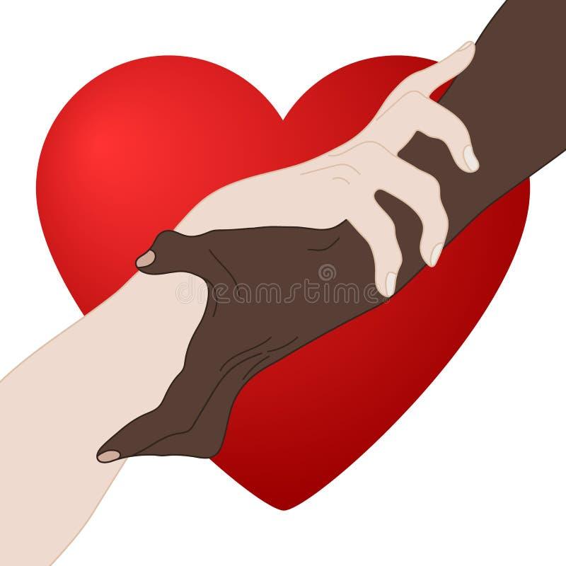 慈善概念 产生爱 握显示团结的手 多民族平等 队,伙伴,联盟概念 向量 库存例证