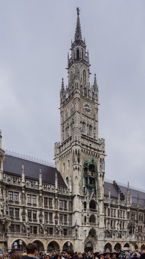 慕尼黑玛利亚广场巴伐利亚新村城镇厅 库存照片
