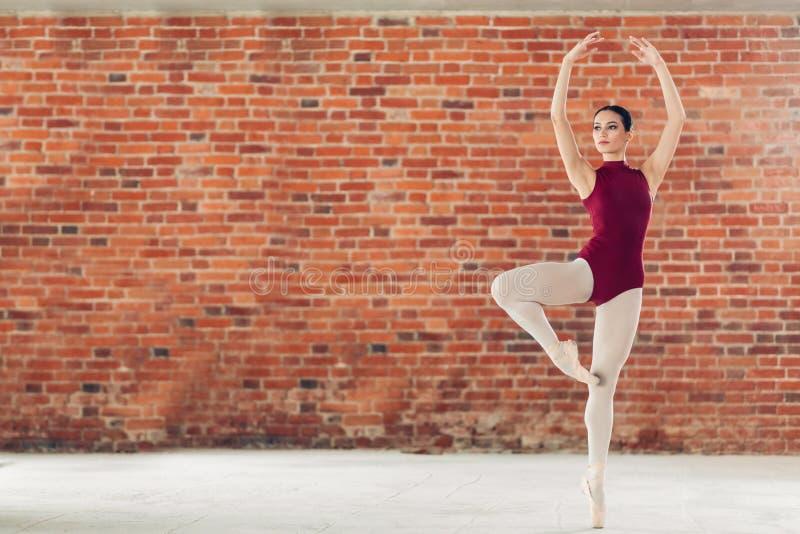 执行她的舞蹈的迷人的芭蕾舞女演员 免版税库存照片
