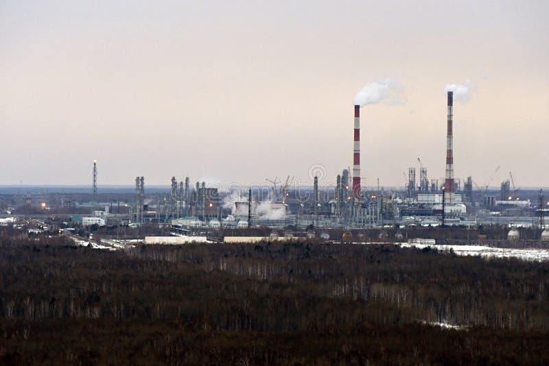 托博尔斯克,俄罗斯,2018年3月19日,石油化学的企业站点  免版税库存照片