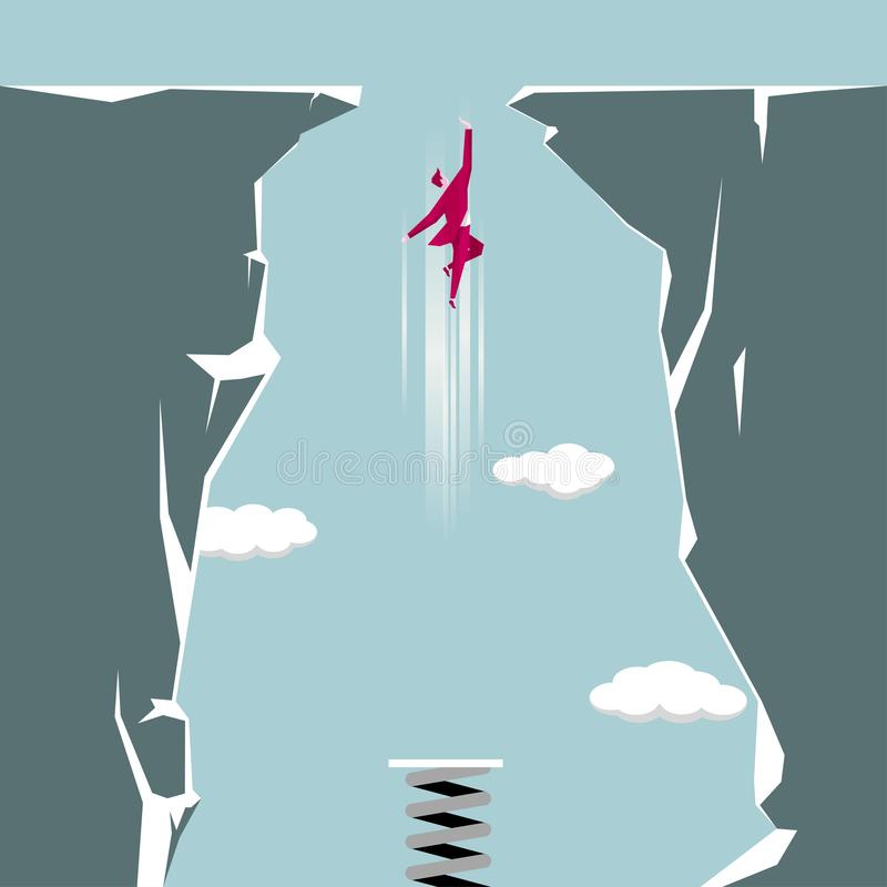 Businessman fled the abyss. Spring springboard vector illustration