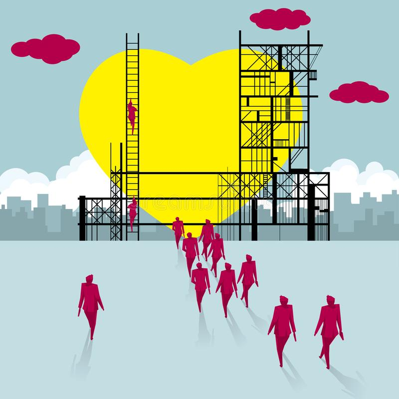 A group of people walked to the construction site. Making a heart shape. royalty free illustration