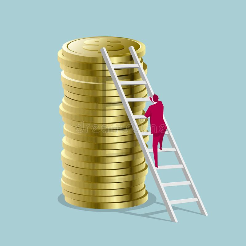 Businessman climbs the dollar coin from the ladder. vector illustration