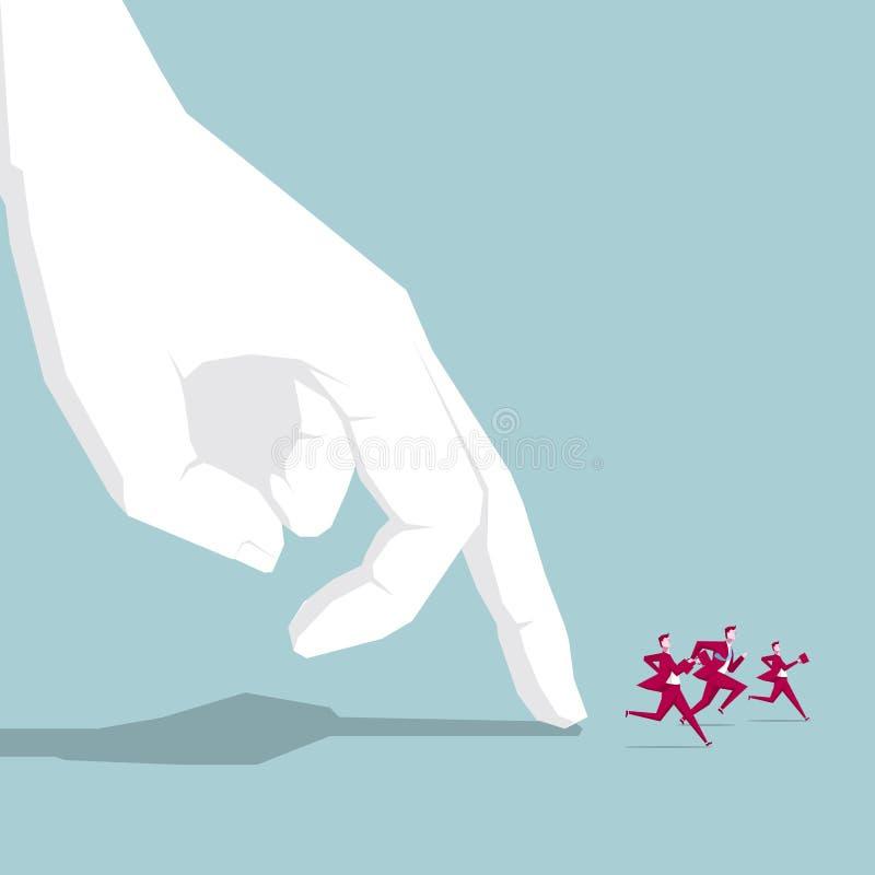 Businessman runs in front of huge fingers. stock illustration