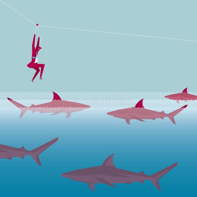 Businessman fleeing shark siege using pulley stock illustration