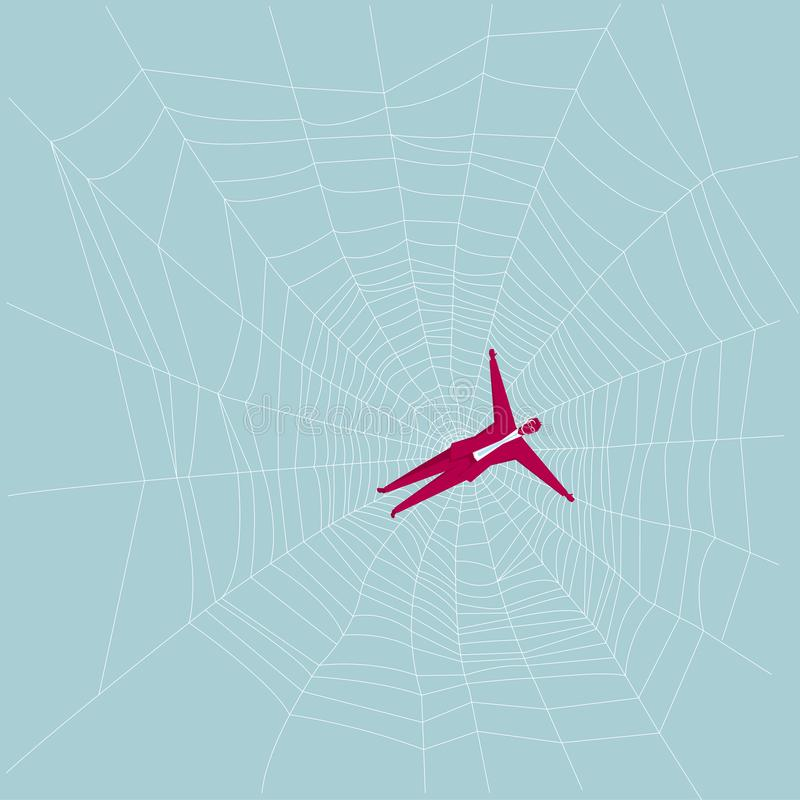 The businessman is trapped on the spider web. royalty free illustration