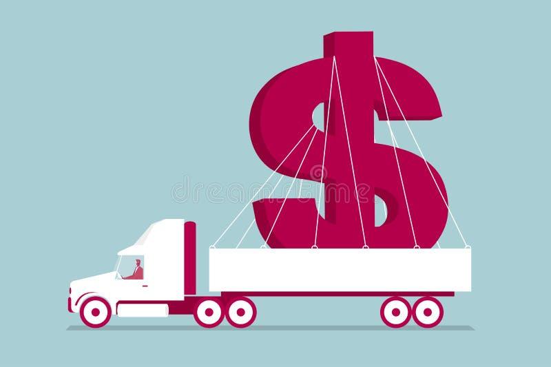 Truck transports dollar sign. royalty free illustration