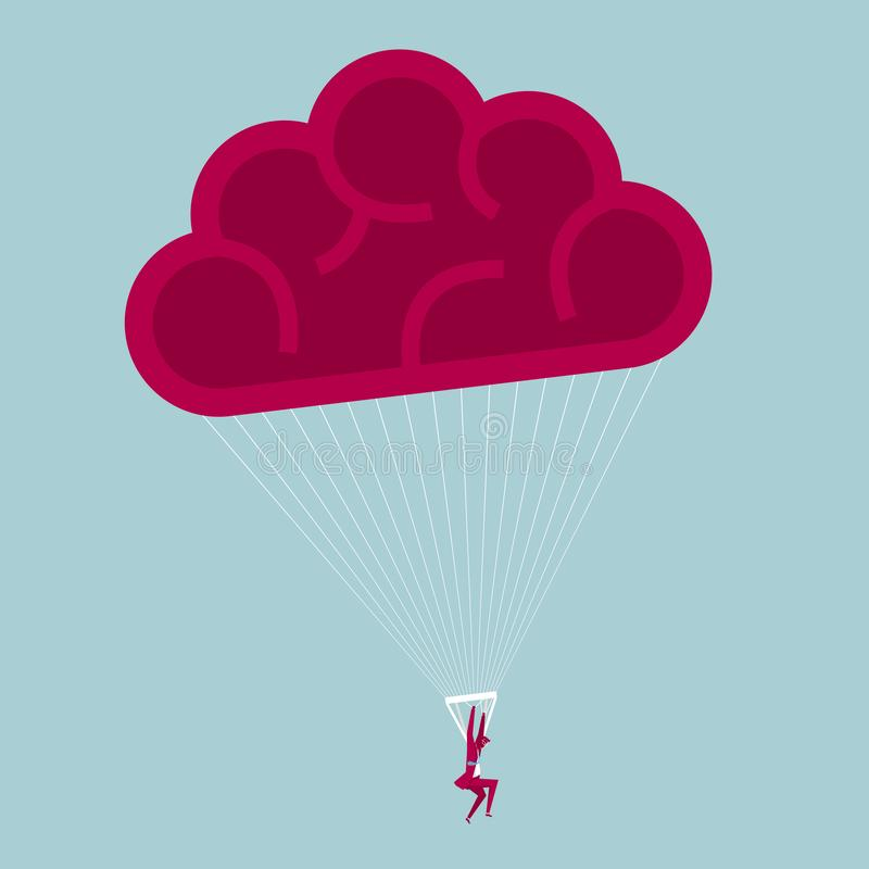 Businessman landed using a parachute. vector illustration