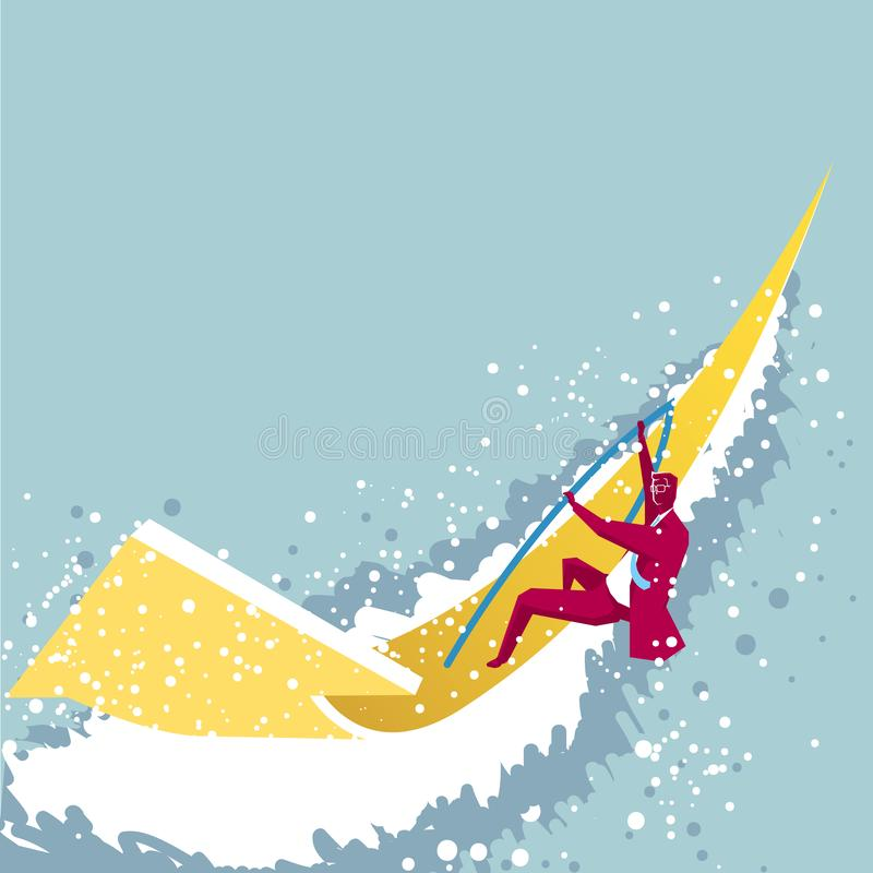 Sailing athlete. The sailboat is an arrow symbol. Isolated on blue background royalty free illustration