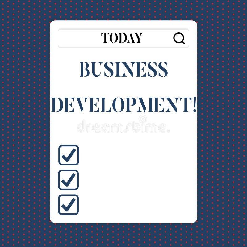 手写文本业务发展 概念意思开发和实施组织成长机会 库存例证