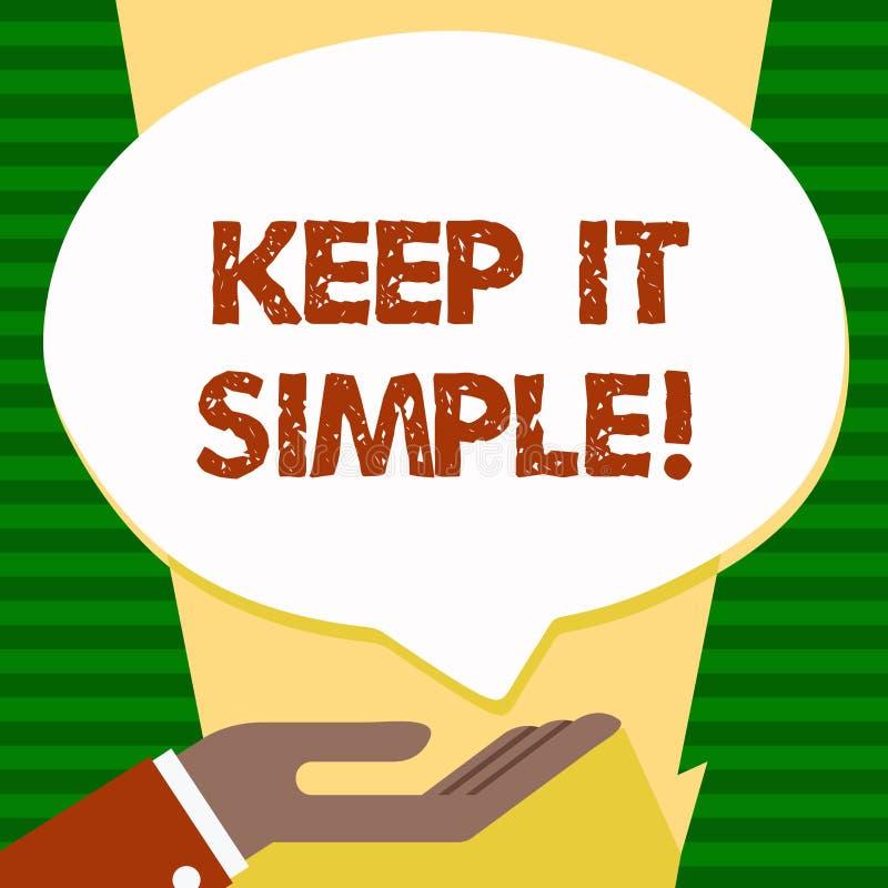 手写文本保持它简单 概念意思简化事容易的可理解的清楚简明的想法 向量例证