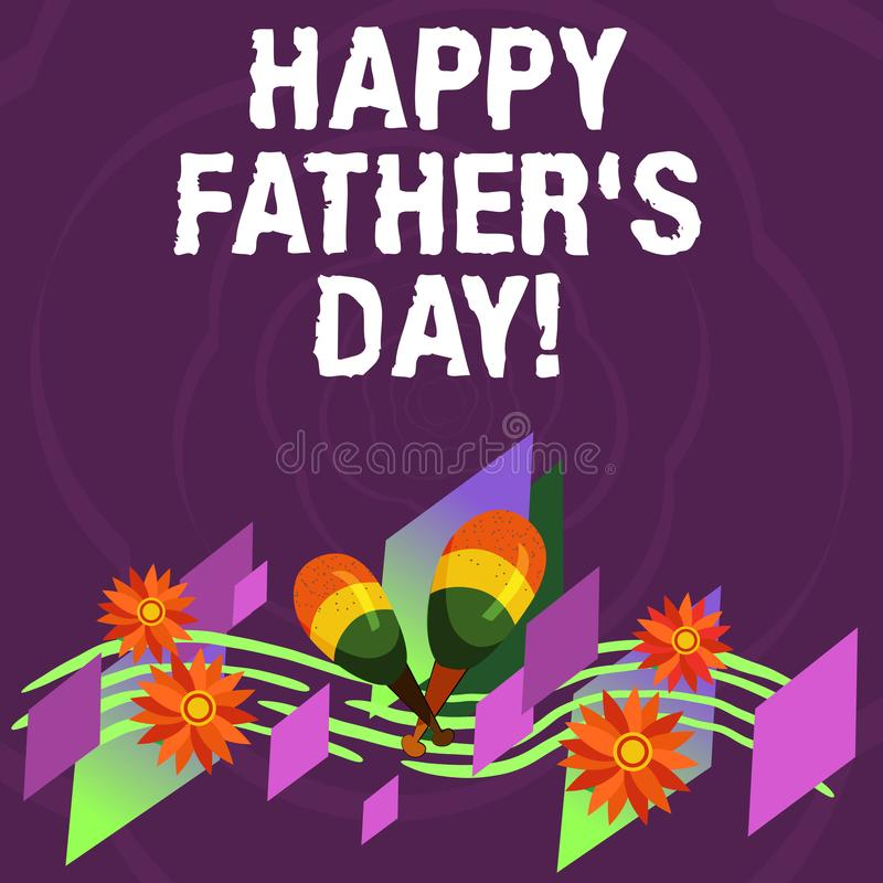 手写文本愉快的父亲s是天 概念纪念爸爸和庆祝父权五颜六色的仪器的意思庆祝 皇族释放例证