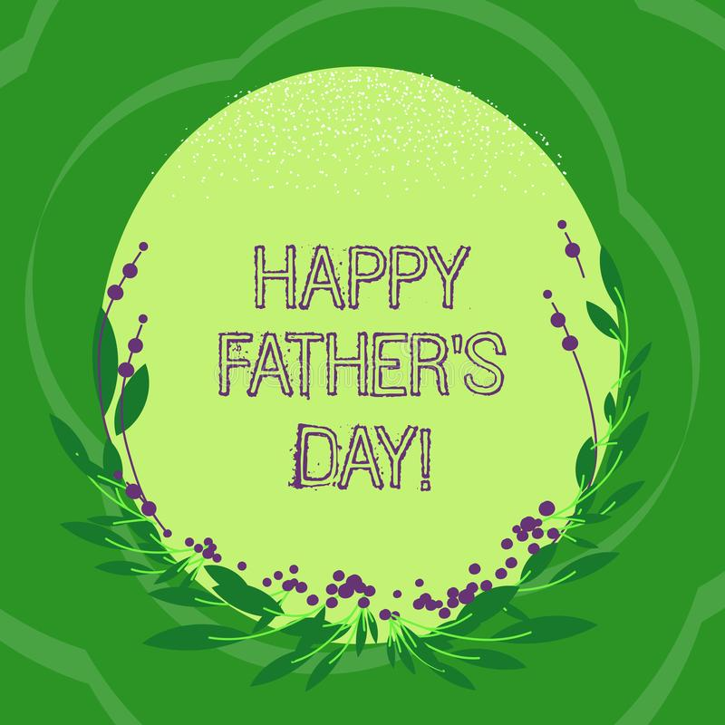 手写文本愉快的父亲s是天 概念纪念爸爸和庆祝父权空白颜色长圆形的意思庆祝 向量例证