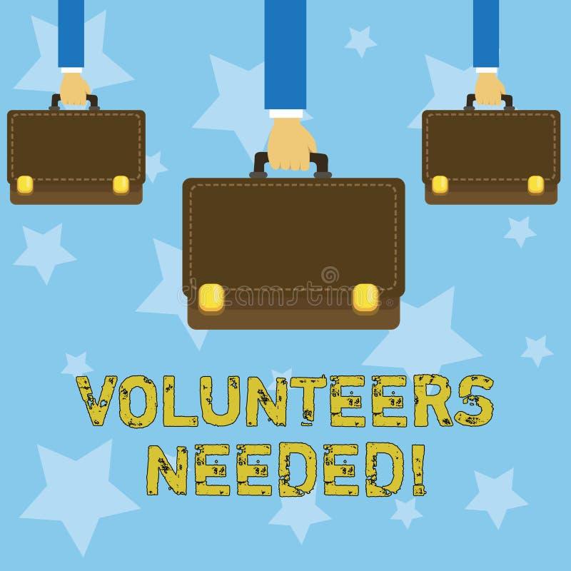 手写文本文字志愿者需要 概念意思社会公共慈善志愿主义 库存例证