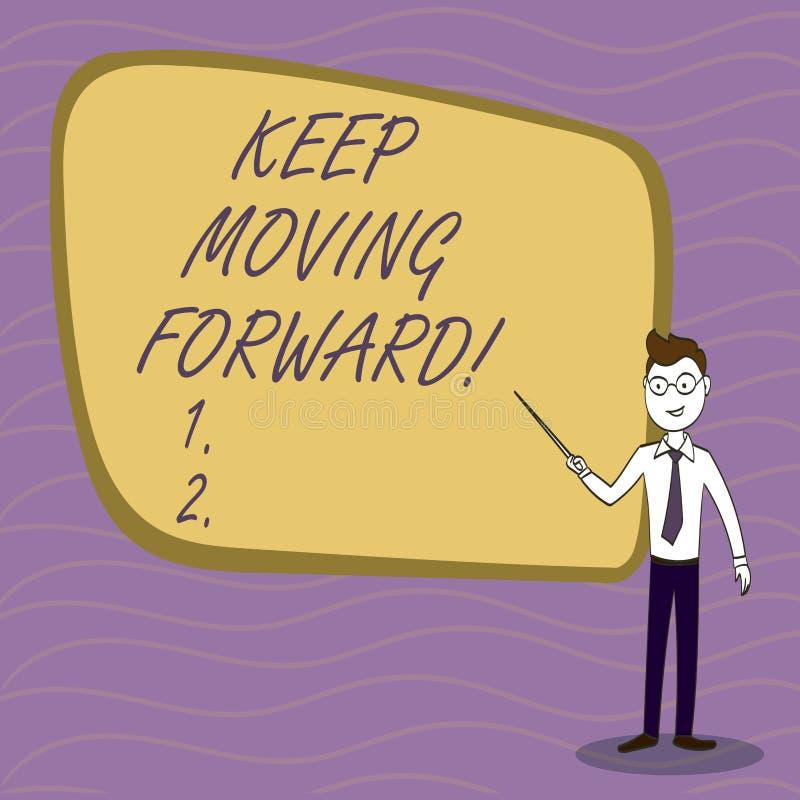 手写文本文字继续前进 意味改善事业的概念鼓励继续是更好的 向量例证