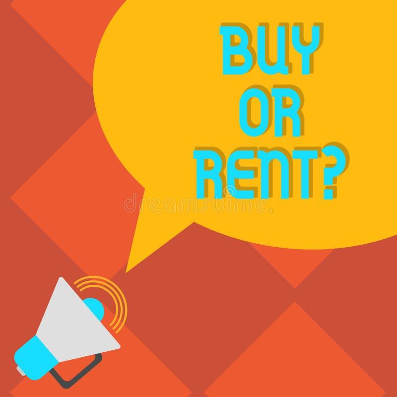 手写文本文字购买或租 意味在拥有的概念某事之间的疑义得到它被租赁的犹豫不决扩音机的与 向量例证