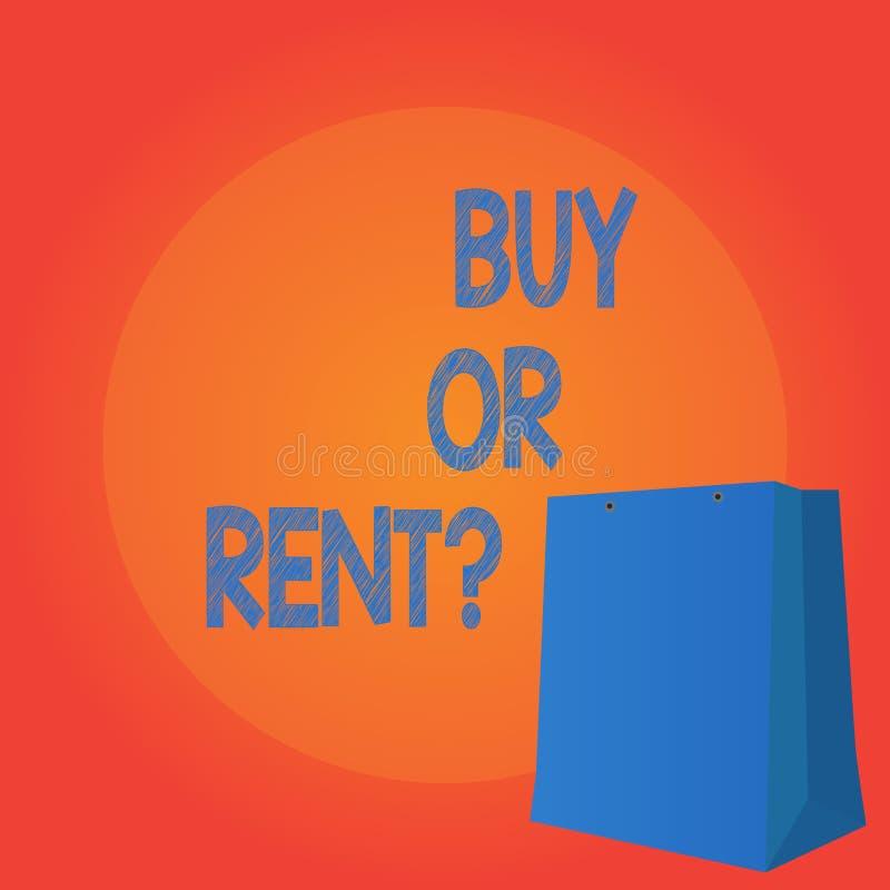 手写文本文字购买或租 意味在拥有的概念某事之间的疑义得到它被租赁的犹豫不决的 向量例证