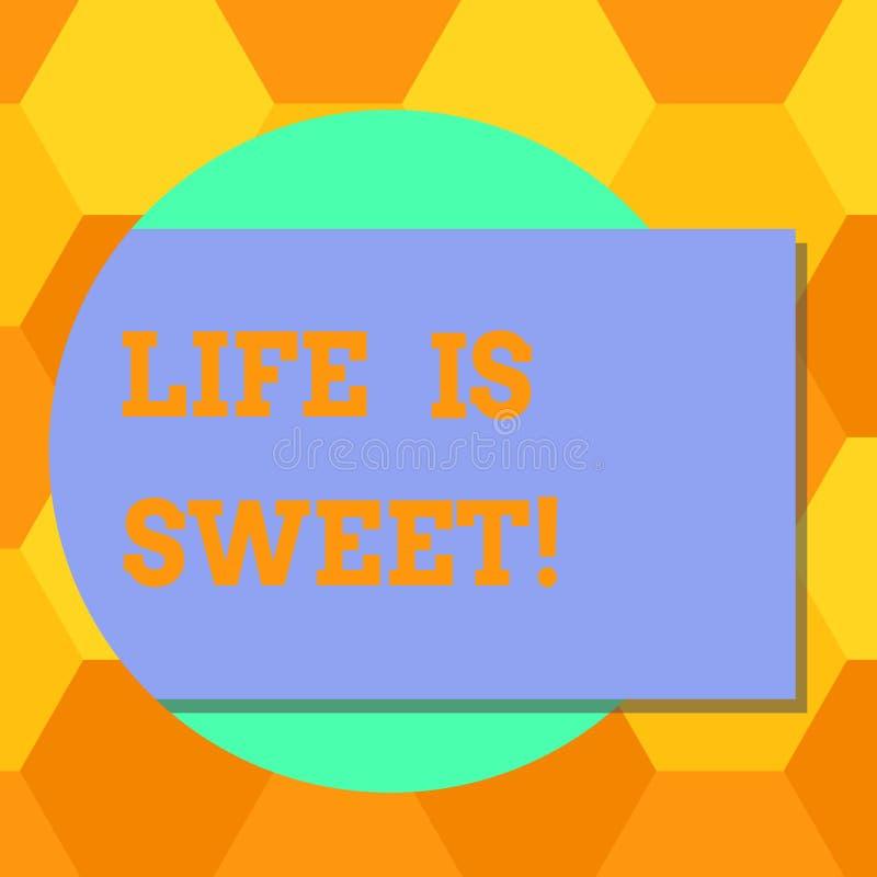 手写文本生活是甜的 意味幸福的概念看事件刺激的好边启发空白长方形 皇族释放例证