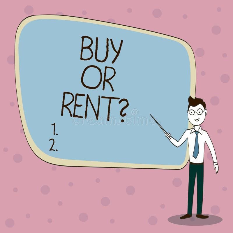 手写文本购买或租 意味在拥有的概念某事之间的疑义得到它被租赁的犹豫不决的 库存例证