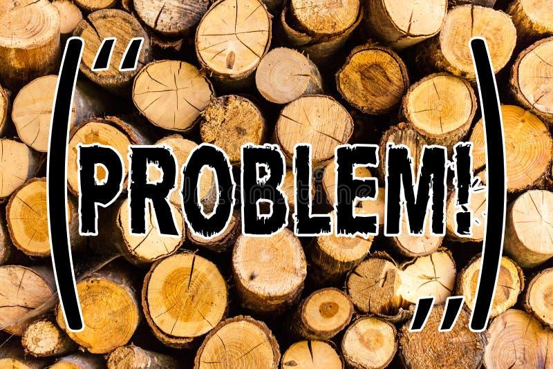 手写文本问题 意味需要是解决的困难的情况复杂化木背景的麻烦的概念 免版税库存图片