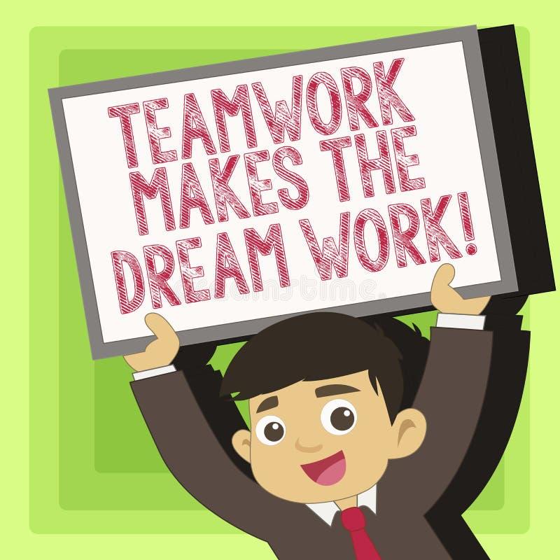 手写文本配合做梦想工作 意味同志爱帮助的概念达到成功 向量例证