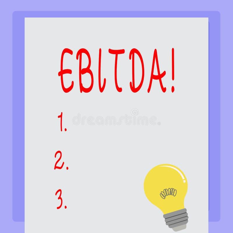 手写文本Ebitda 意味收入的概念,在税被测量评估公司perforanalysisce前 库存例证