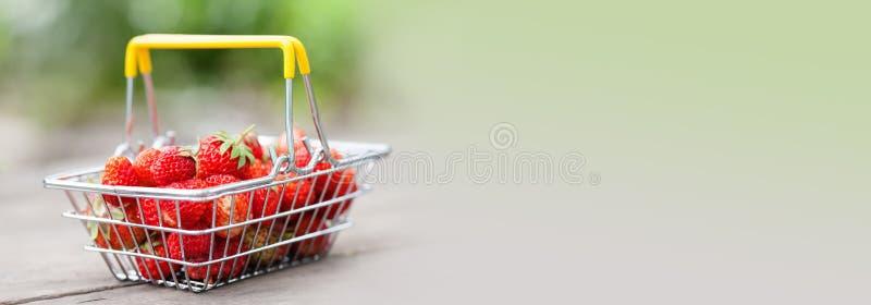 手提篮用成熟红色草莓 夏天果子收获在木桌和被弄脏的背景上的草莓 免版税库存图片