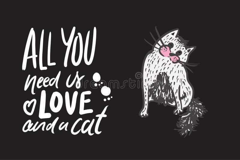 手您的设计的字法行情关于猫 库存例证
