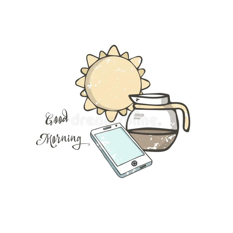 手拉的例证电话和令人敬畏的新鲜的咖啡与在背景早晨好概念的明亮的橙黄色太阳 库存例证